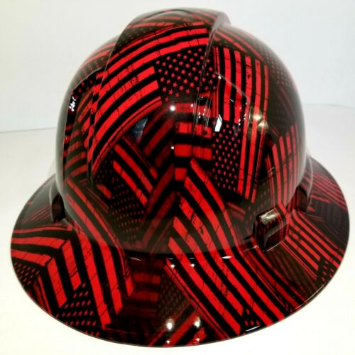FULL BRIM Hard Hat custom hydro dipped , NEW CANDY RED USA FLAG FIREMANS FLAG 2