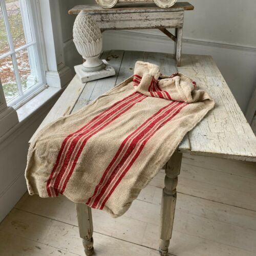 Red  hand woven  grainsack grain sack hand woven linen hemp  textile feed bag