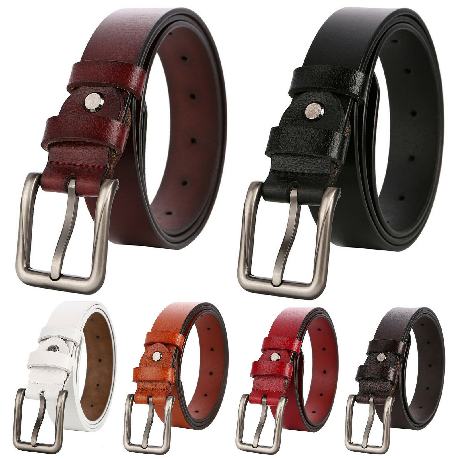 Women's and Teenage Girl's Genuine Leather Classic Square Metal Buckle Jean Belt Belts