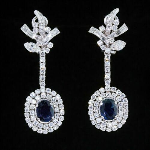 Vintage Art Deco Engagement Wedding Earrings 14K White Gold 4.1 Ct Blue Sapphire