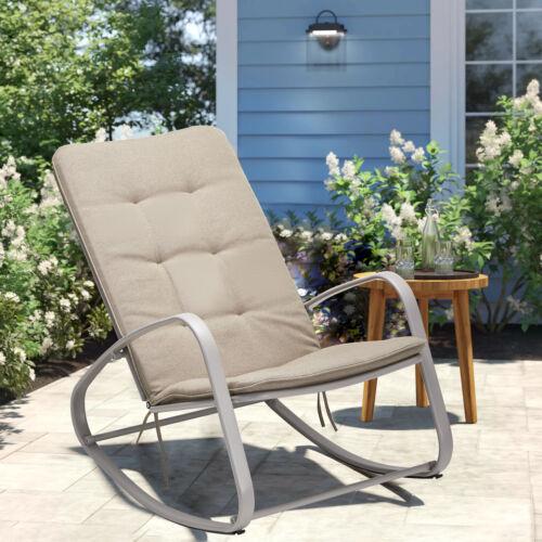 AECOJOY Indoor Outdoor Metal Rocking Chair w/ Cushion Patio recliner 2 Color