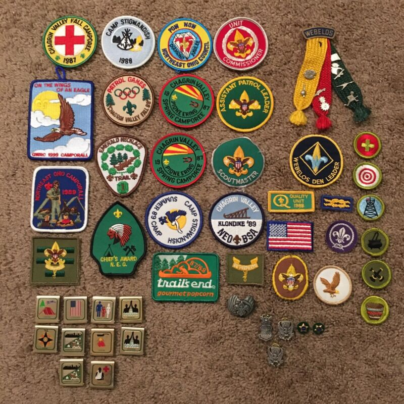 Vintage Mixed Lot (50+ Items) of Boy Scout / Webelos Badges Patches Pins - Nice