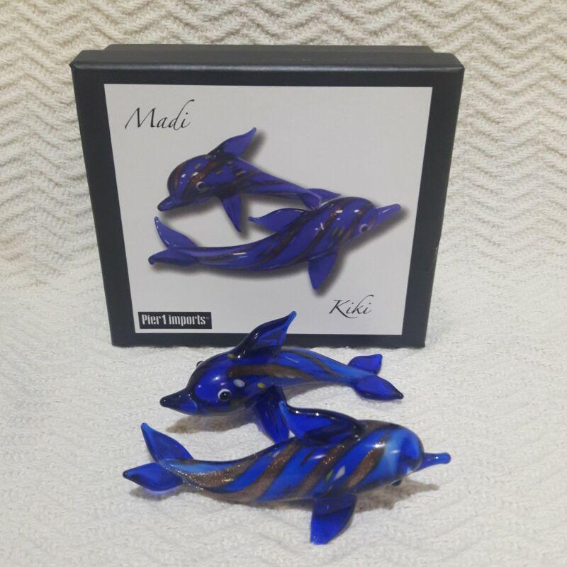 Pier 1 Imports Blue Glass Dolphins Madi & Kiki