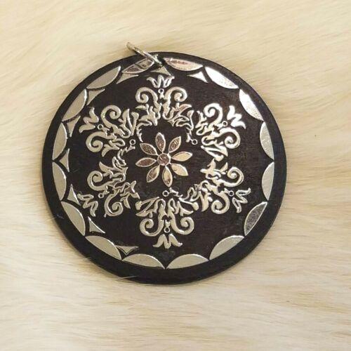 Vintage Flower Medallion Pendant Charm Black Wood Silver Tone Shiny Large 4931