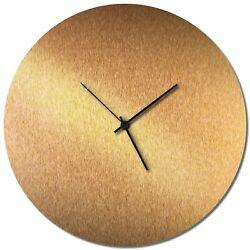 Mid-Century Modern Clock Minimalist Wall Decor Contemporary Bronze Accent