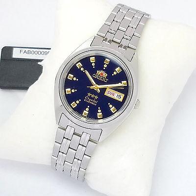 ORIENT 3 Star Automatic Watch Mens SILVER tone Dark Blue Dial FAB00009D9 New