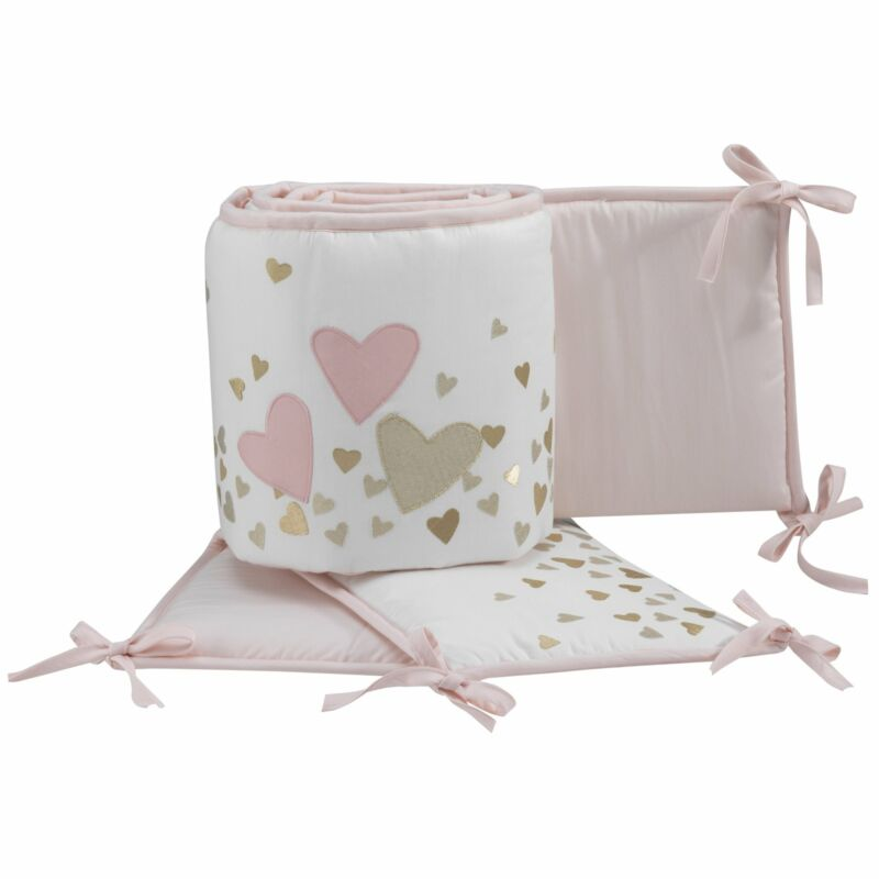 Lambs & Ivy Confetti Pink/White/Gold Hearts 4-Piece Baby Crib Bumper