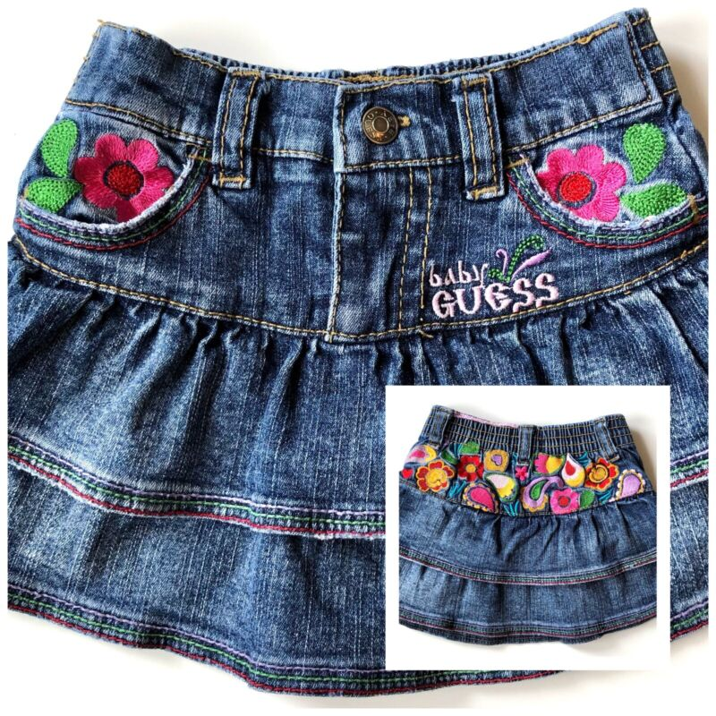 Guess Jeans Baby Girl Ruffled Denim Skirt Floral Paisley Embroidery Size 6-9m