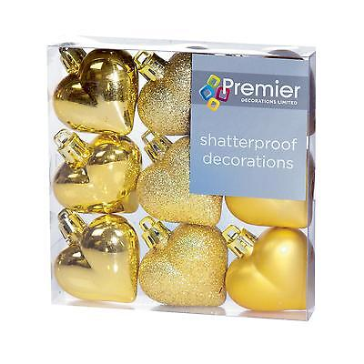 - Christmas Tree Decoration 9 Pack 40mm Shatterproof Heart Baubles - Gold