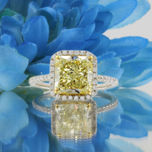 GIA Certified Fancy Intense Yellow Radiant Diamond Engagement Ring 4.50 CT Pl...