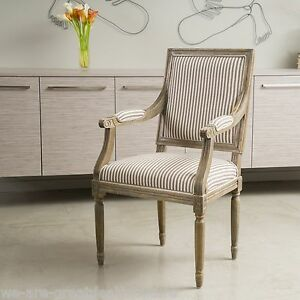 French Design Weathered Oak Striped Fabric Dining Side Chair W Arms