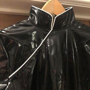 Honour - black PVC Geisha style mini dress, size S