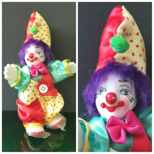 """Jester Clown 6"""" Doll Collectible Porcelain Face, Hands & Feet ~ NEW ~"""