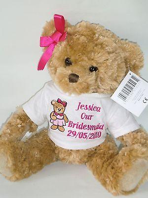 Personalised Teddy Bear Bridesmaid Flower Girl Mother of Bride Wedding Gift ()