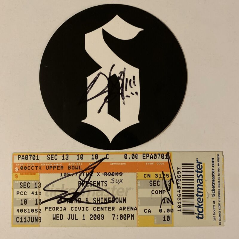Shinedown Signed Sticker And Ticket Stub Brent Smith Zach Eric