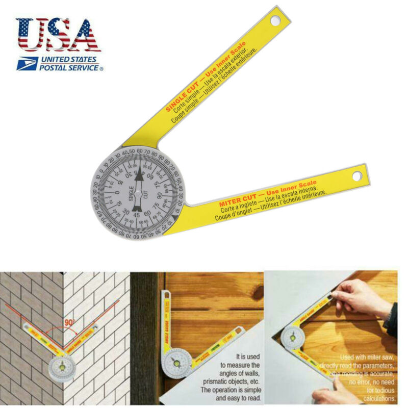 360 Degree Miter Saw Protractor High Accuracy Angle Finder Measuring Ruler Tool