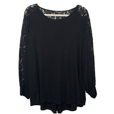 Cable & Guage Womens Plus Size 1X Blouse Black Lace Long Sleeve Viscose Soft