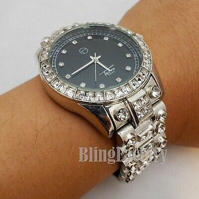 Men's Hip Hop Full Iced Bling Silver PT Lab Diamond Metal Ba