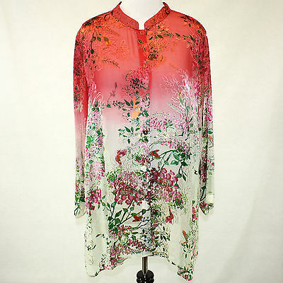 Citron Clothing Coral Jasmine Bloom Butterflies Button Down Blouse Plus 3X - Butterflies Clothing