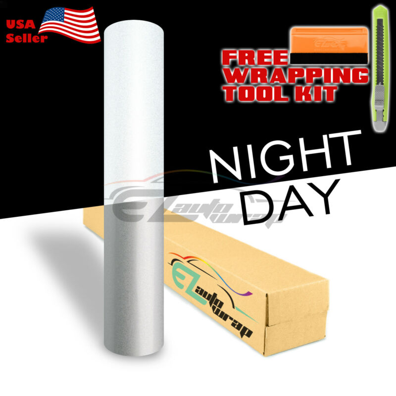 "*12""x48"" Reflective White Vinyl Wrap Sticker Decal Graphic Sign Adhesive Film"