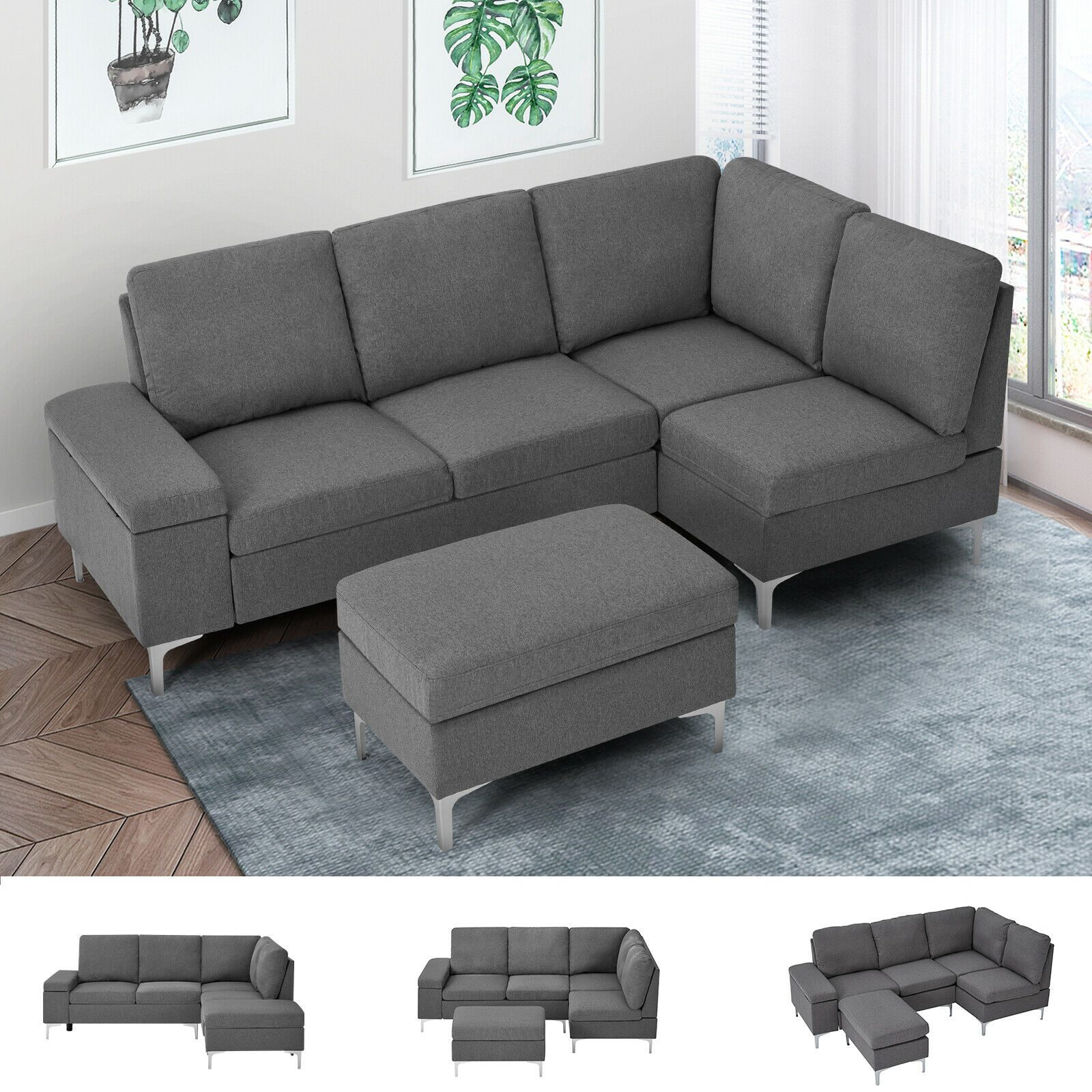 Esright Convertible Sectional Sofa with Ottoman & Armrest Storage Grey Furniture