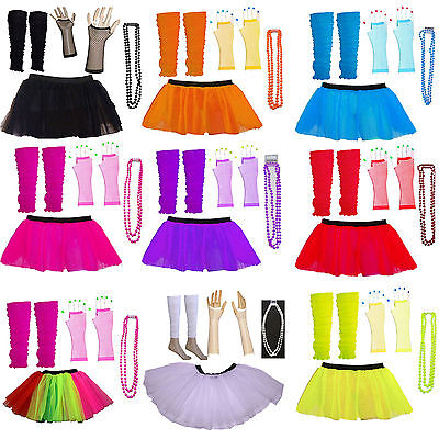 Neonfarbene Kostüme (Kinder Neon Farben UV Tutu Handschuhe Bein Wärmer und Perlen 1980s Kostüm)