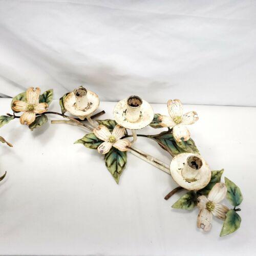 Vintage Italian Candelabra Candle Holder Shabby Chic Tole Dogwood Flower Metal