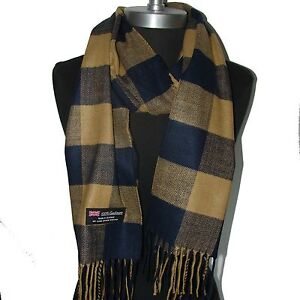 100-Cashmere-Scarf-Dark-Blue-Camel-Check-Plaid-Wool-Soft-Men-Women-Wrap-C5k04