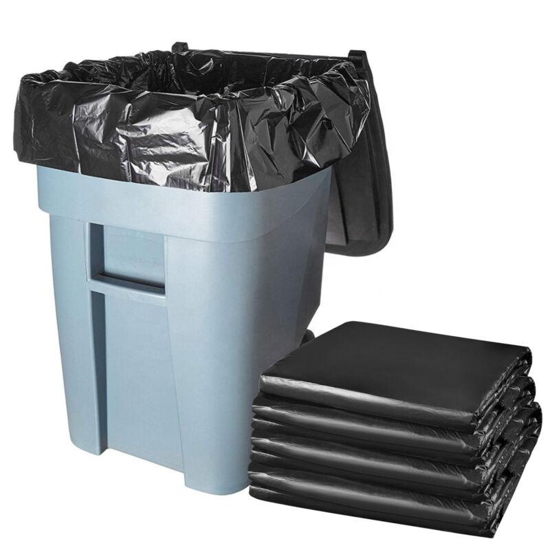 50pcs Heavy Duty 45 Gallon 3 mil Contractor Trash Bags Garbage Rubbish Bag Black