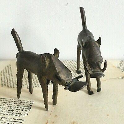 2 Statuettes Africa Bronze Wild Boar Warthog - Africa