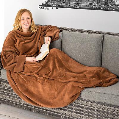 Kuscheldecke Ärmel Wohndecke TV-Decke Sofadecke mit Handytasche 150x180cm braun ()