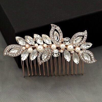 Bridal Hair Comb Pearl Crystal Headpiece Wedding Accessories 04096 ROSE GOLD New Wedding Crystal Pearl
