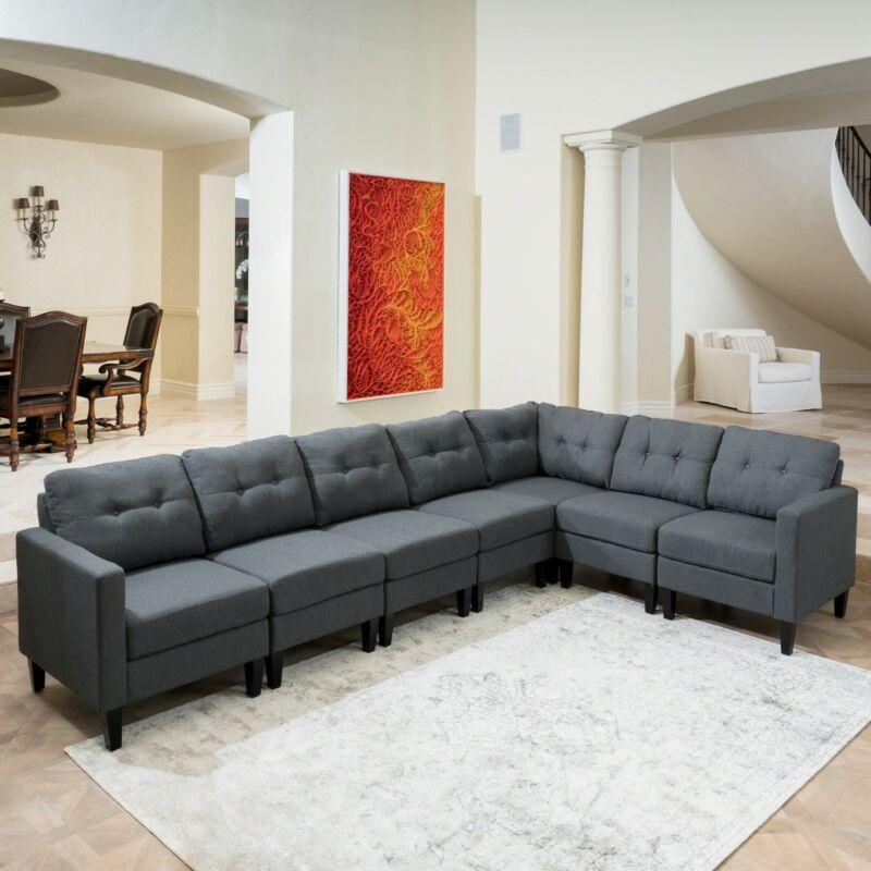 Niya Mid Century Modern 7 Piece Fabric Extended Sectional Sofa