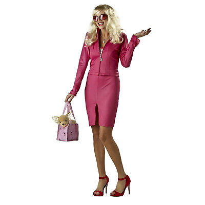 Women's Elle Woods Legally Blonde Cosplay Costume Pink Dress Bag Bruiser Dog](Dog Costume For Women)