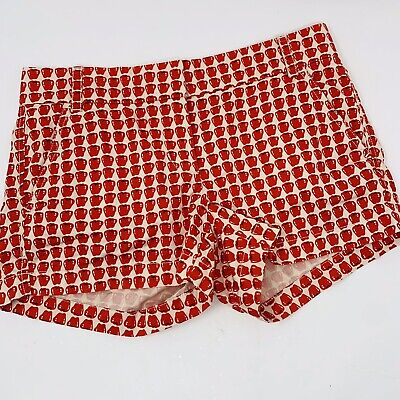 J CREW Size 2 Shorts Red Apple pattern Chino City Fit