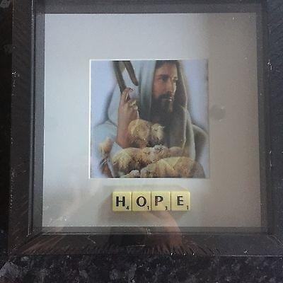 BLACK FRAME BIBLICAL HOPE JESUS LAMB SCRABBLE TILE PICTURE SIMPLY STUNNING - Hope Framed Tile