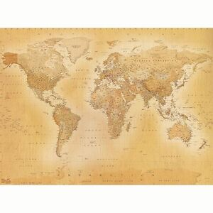VINTAGE WORLD MAP WALLPAPER WALL MURAL 2.32m x 3.15m NEW