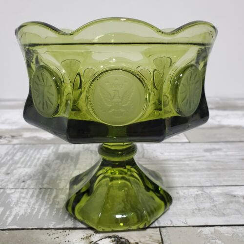 Fostoria Coin Glass - Olive Green - Footed Compote Candy Bowl - Eagle Torch Coin