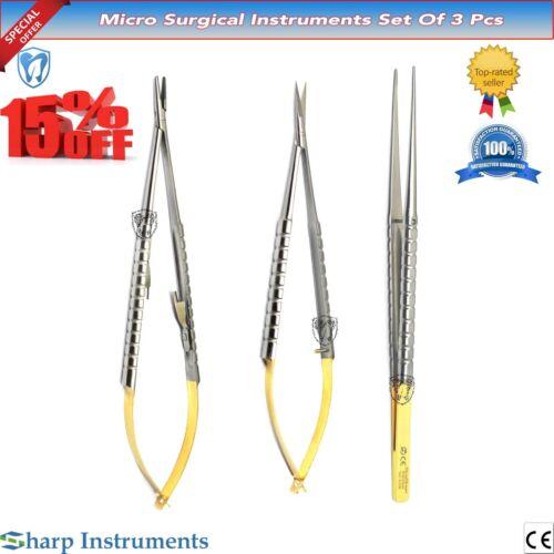x3 Dental Castroviejo Micro Scissor Needle Holder Straight TC Forcep Eye Kit New