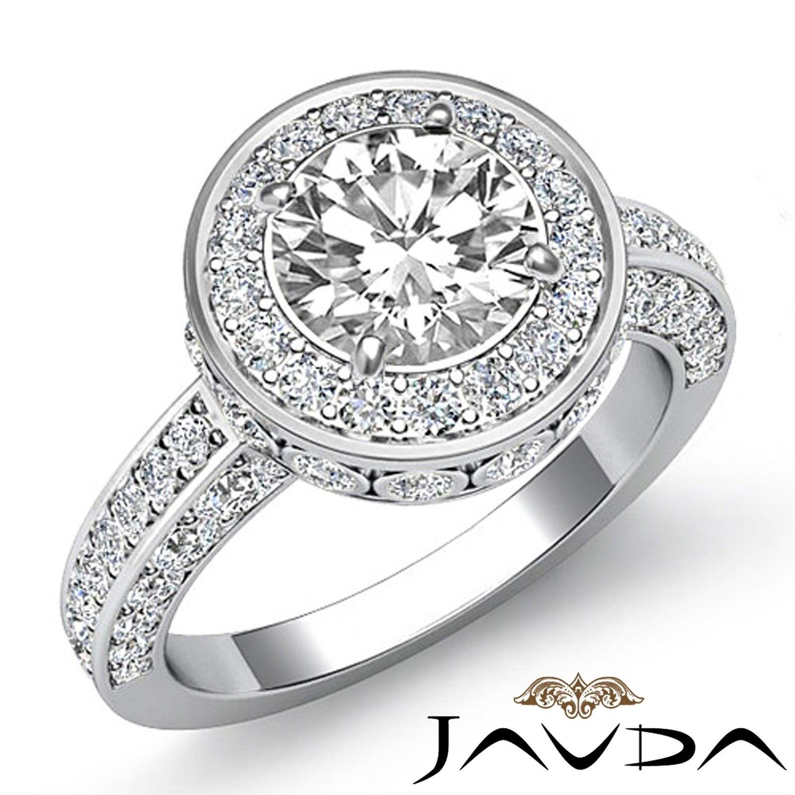 1.79ctw Halo Bezel Side Stone Round Diamond Engagement Ring GIA I-VS1 White Gold
