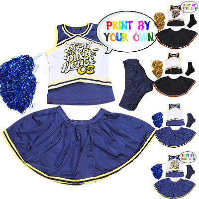 Blank DIY Printed Cheerleader Clothes Cheerleading Costume Outfit AU Size 6 - 16 (Diy Costumes Girls)