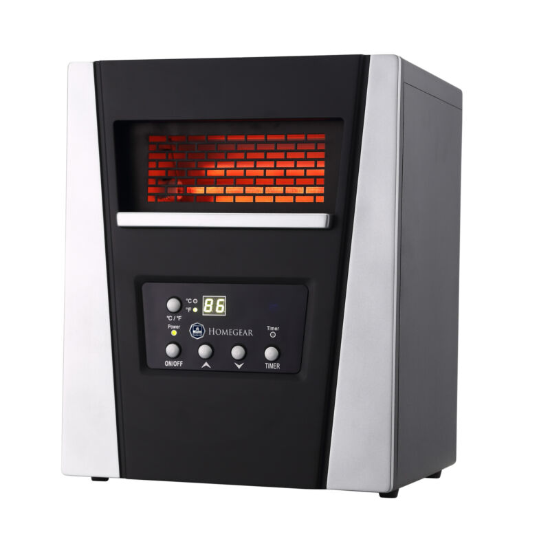 Homegear 1500 SqFt Infrared Electric Portable Space Heater Black with Remote