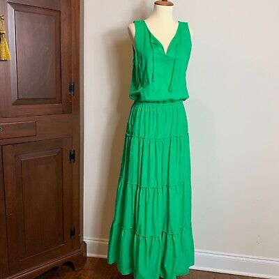 EUC Lauren by Ralph Lauren Green all cotton Tiered Maxi Sun Dress size 6