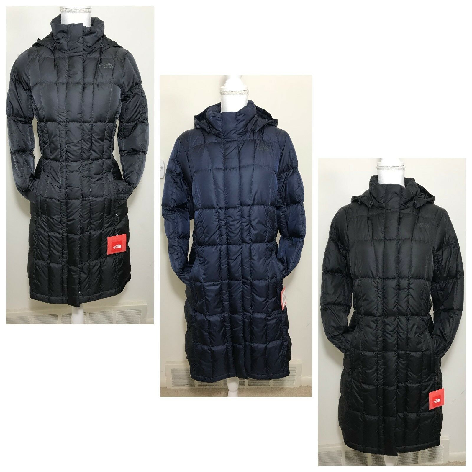 The North Face Women's Metropolis Parka Down Coat Grey Navy