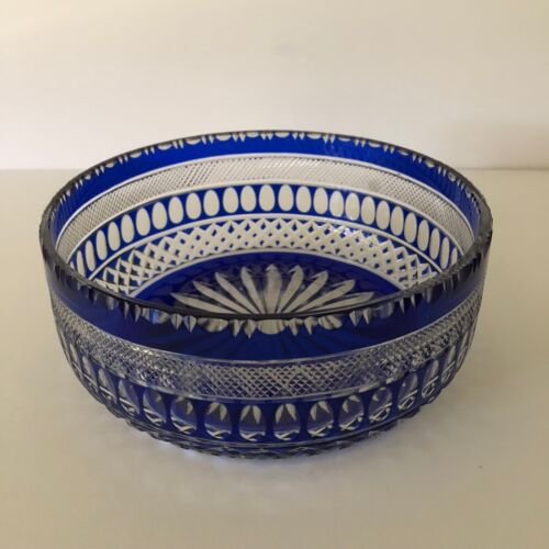 SAINT LOUIS HAND CARVED COBALT BLUE CUT TO CLEAR CRYSTAL BOWL