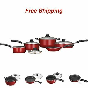 9 Piece Essential Nonstick Cookware Set Pots And Pans Kitchen Red