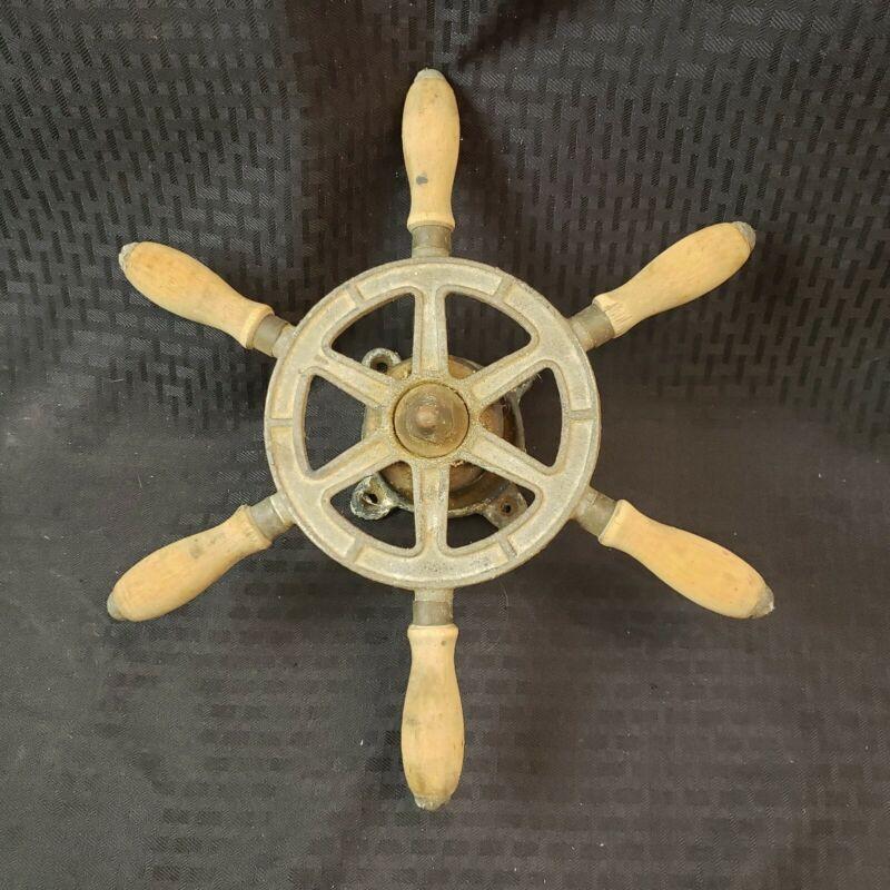 ANTIQUE VINTAGE MARITIME NAUTICAL SMALL METAL & WOOD SEA SHIP BOAT ART WHEEL US