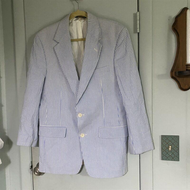 Brooks Brothers Seersucker Blazer 38R Blue White Beachy Summer Wedding
