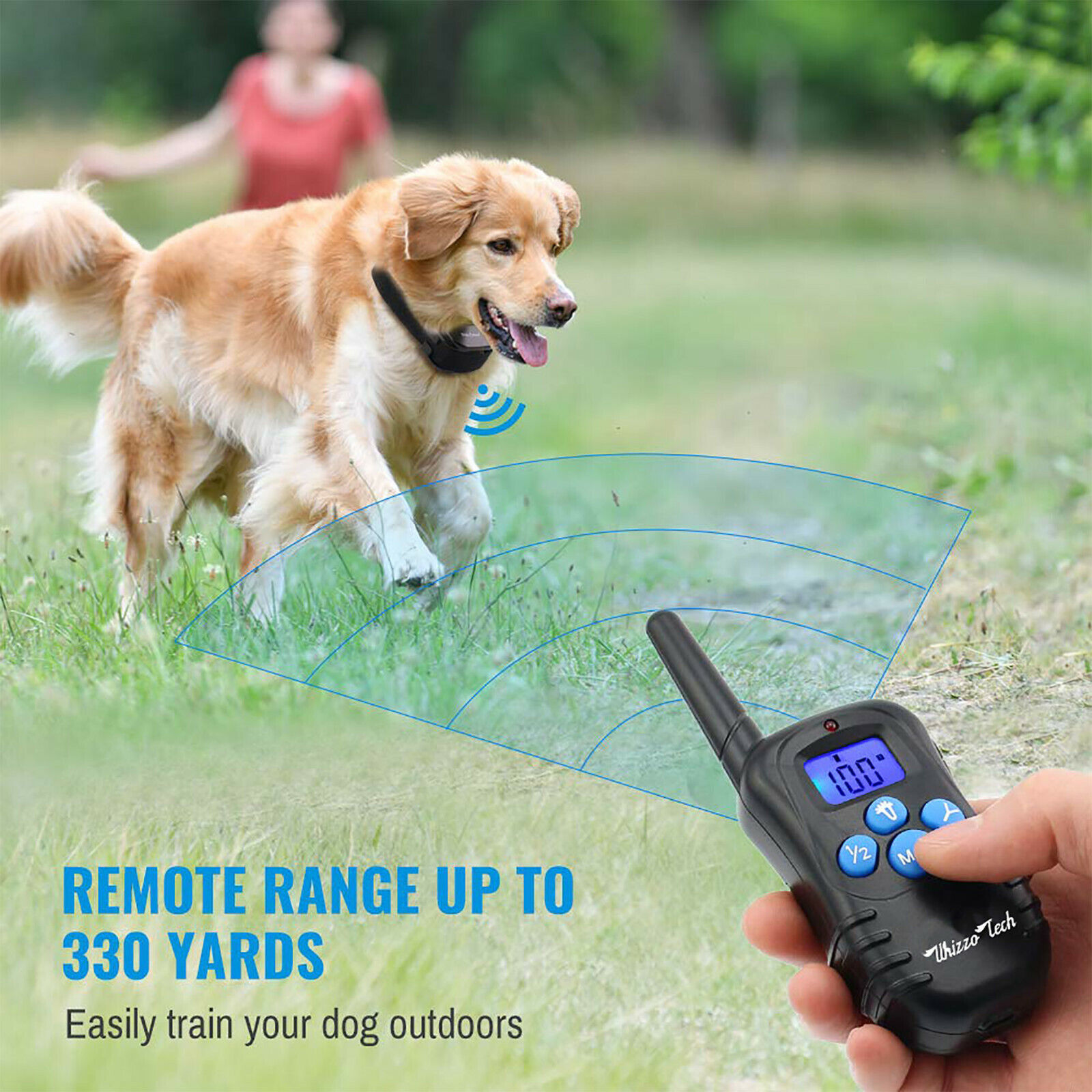 Dog Shock Training Collar Rechargeable LCD Remote Control Waterproof 330 Yards Bark Collars
