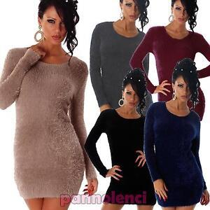 Maglione-donna-pullover-maxipull-pelo-eco-pelliccia-miniabito-nuovo-WZ-155